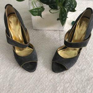 DKNY zipper edged gray suede heels 8.5